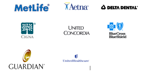 Metlife, Aetna, Delta Dental, Cigna, United Concordia, Blue Cross Blue Shield, Guardian, United Health Care