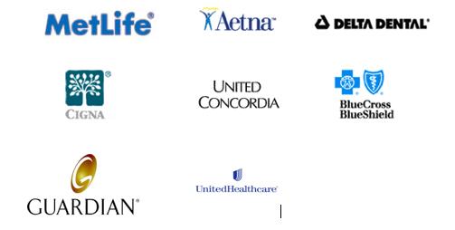 Metlife, Aetna, Delta Dental, Cigna, United Concordia, Blue Cross Blue Shield, Guardian, United Health Care